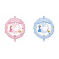 Palloncino mylar per nascita, rosa o azzurro, idoneo per gonfiaggio ad elio. CM 45