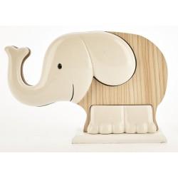 Elefante ceramica e legno bicolor. CM 21