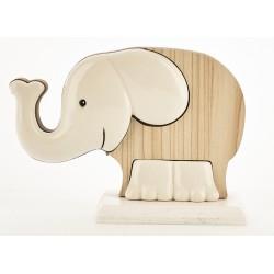Elefante ceramica e legno bicolor. H.9 L.13