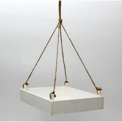 Vassoio legno bianco con corda da appendere. CM 28x24