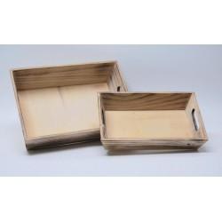 Set 2 vassoio legno con manico / MIS.17X26X6  -  22X32X9