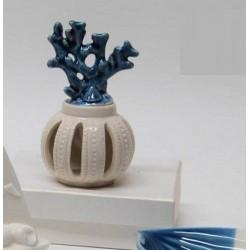 Profumatore ceramica con corallo e scatola. CM 7x7 H 12