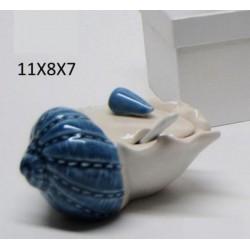 Zuccheriera ceramica bicolor con scatola. CM 11x8 H 7