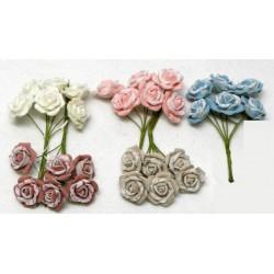 Mazzo 6 rose bicolor, Diam. 3.