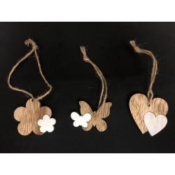 Applicazione legno bicolor con nastro corda, soggetti a scelta. CM 4