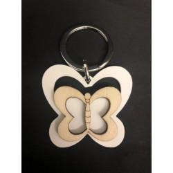 Portachiavi metallo e legno con farfalle. CM 10