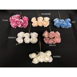 Mazzo 6 rose tessuto. Diam. 3.5