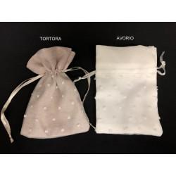 Sacchetto tessuto con base organza pois. CM 10x13