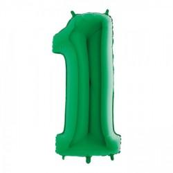 Palloncini mylar gonfiabili ad elio, numero UNO colore VERDE. CM 102