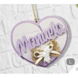 Nome in legno personalizzato da appendere con decorazione gesso. CM 15x15