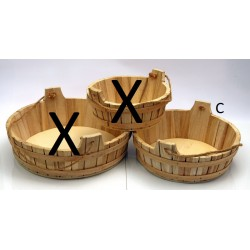 Tinozza legno con manico corda. Diam. 38 H 14