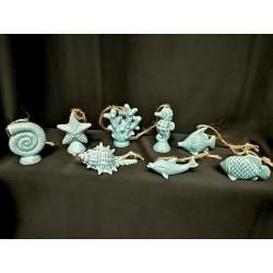 Soggetti marini ceramica con filo corda. Ass 8. CM 6
