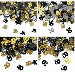 Set 15 GR coriandoli forma numeri in plastica oro, nero e argento decorativi.