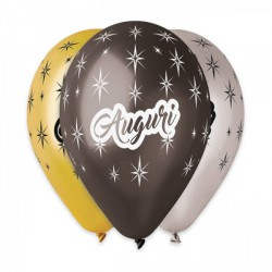 """Set 50 palloncini oro, nero e argento assortiti in lattice con scritta """"Auguri"""", adatti per gonfiaggio ad elio o ad aria. CM 30"""