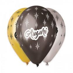 Set 10 palloncini assortiti nero, argento e oro in lattice con scritta Auguri, adatti per gonfiaggio ad elio o ad aria. CM 30
