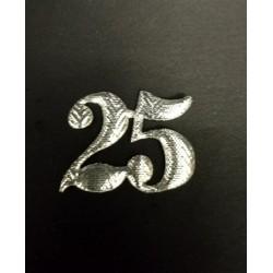 Set 24 pz numero 25 in stoffa laminata. CM 3x3