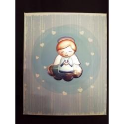Album nascita con placca argento angelo con scatola. CM 25x21