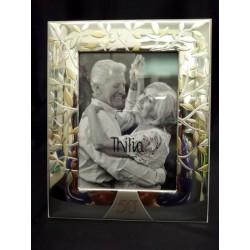 Portafoto argento con albero e 50, con scatola. CM 13x18