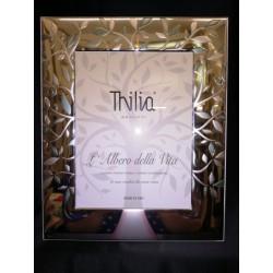 Portafoto argento con retro legno. CM 18x24