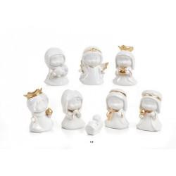 Set 8 personaggi natività in porcellana bianca e oro. H 9