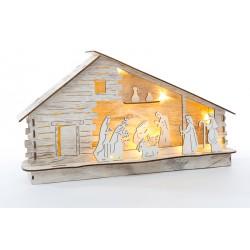 Presepe in legno con luci. CM 35x7 H 20