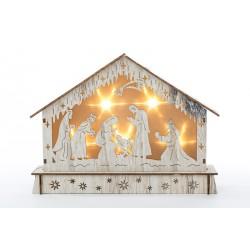 Presepe in legno con luci. CM 23x6 H 18