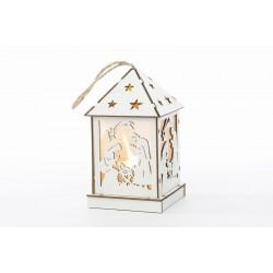 Lanterna con sacra famiglia in legno con luci. CM 7x7 H 12