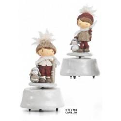 Carillon in resina e tessuto con bambini. Ass.2 H 17