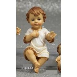 Gesù bambino resina con veste. CM 10.5