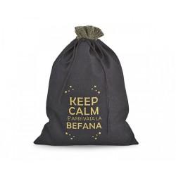 """Sacchetto tessuto """"Keep calm befana"""". CM 18x25"""