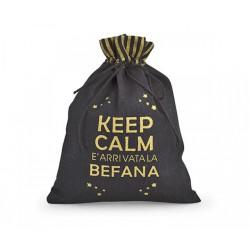 """Sacchetto tessuto """"Keep calm befana"""". CM 14x18.5"""