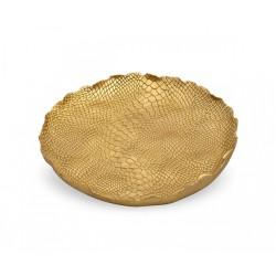 Vassoio decorato effetto pitone oro. Diam. 23