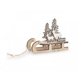 Slitta in legno con cervi. CM 13,5x4,5 H 10,5