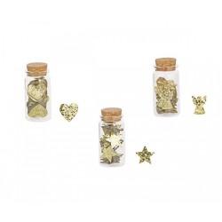 Barattolo con applicazioni natalizie glitter oro, 26 applicazioni l'uno. Ass 3.