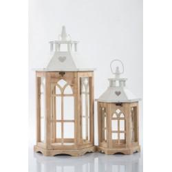 Set due lanterne vetro e legno H.55 E H.37