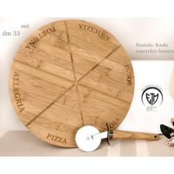 Tagliere pizza in legno con scatola. Diam. 33