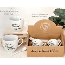 Set 2 tazze cappuccino ceramica con box regalo. H 7