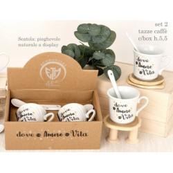 Set 2 tazze caffe ceramica con box regalo. H 5,5