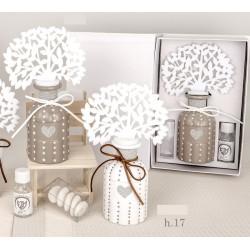 Profumatore ceramica pois con albero panno con scatola. H 17