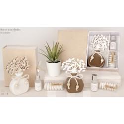 Profumatore ceramica con albero panno con scatola. H 14