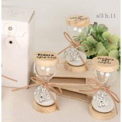 Clessidra vetro con base legno scritta con scatola. Ass 3. H 11