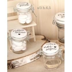 Barattolo vetro con tappo ceramica bianca e scritta. Ass 3. H 6,5