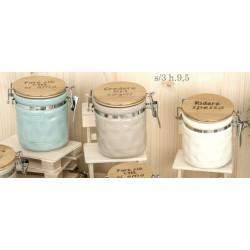 Barattolo ceramica colorata con tappo legno scritta. Ass 3. H 9,5