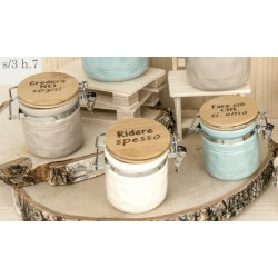 Barattolo ceramica colorata con tappo legno scritta. Ass 3. H 7