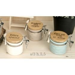Barattolo ceramica colorata con tappo legno scritta. Ass 3. H 5,5
