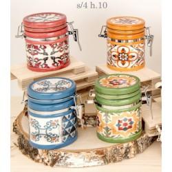 Barattolo ceramica con colori e decori maioliche. Ass 4. H 10