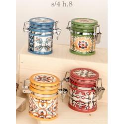 Barattolo ceramica con colori e decori maioliche. Ass 4. H 8