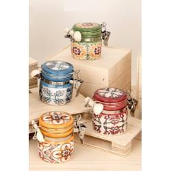 Barattolo ceramica con colori e decori maioliche. Ass 4. H 6