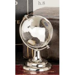 Globo vetro con dettagli bianchi e metallo. H 8