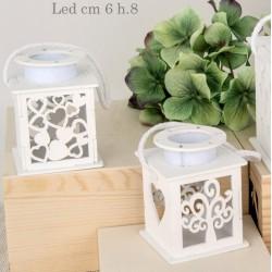 Lanterna legno albero/cuore con luce LED. Ass. 2 CM 8 H 10